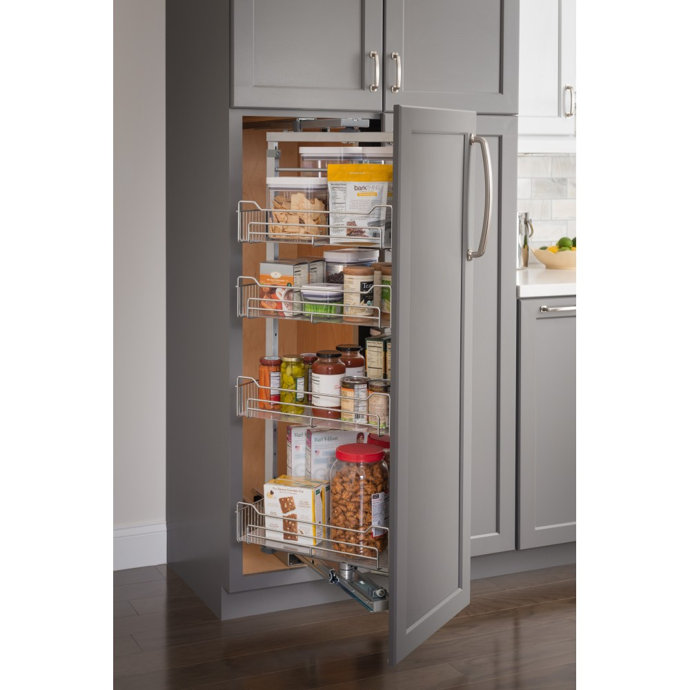 """15"""" Wide x 86"""" High Chrome Wire Pantry Pullout with Swingout Feature"""