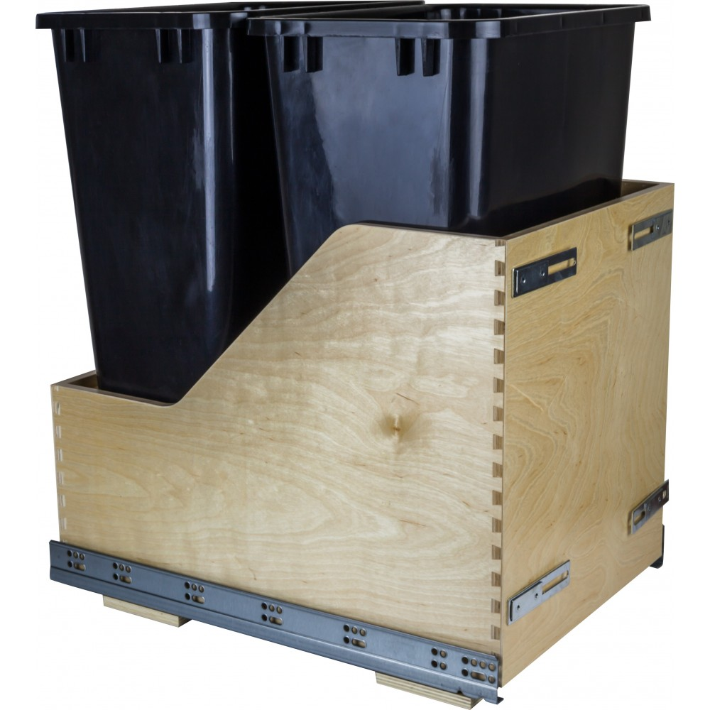Preassembled 50 Quart Double Pullout Waste Container System
