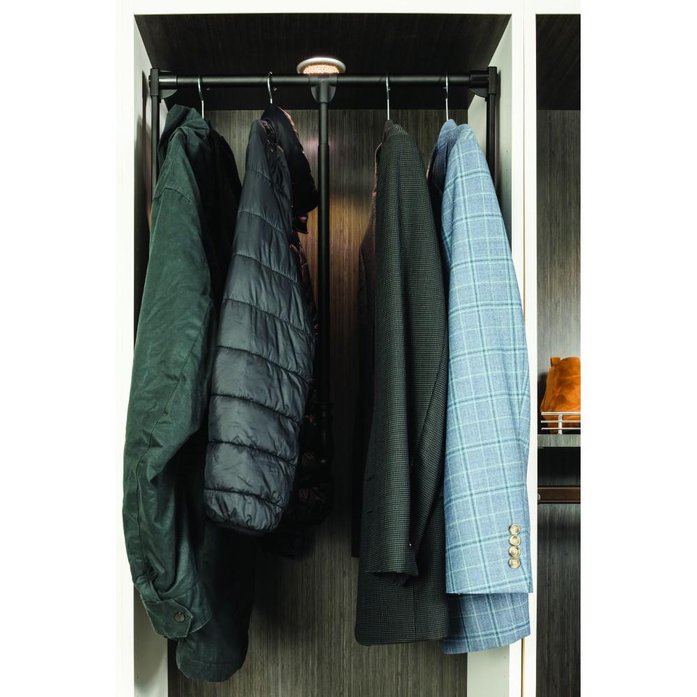 "Black Powder Coat Soft-close 25-1/2"" - 35"" Expanding Wardrobe Lift"