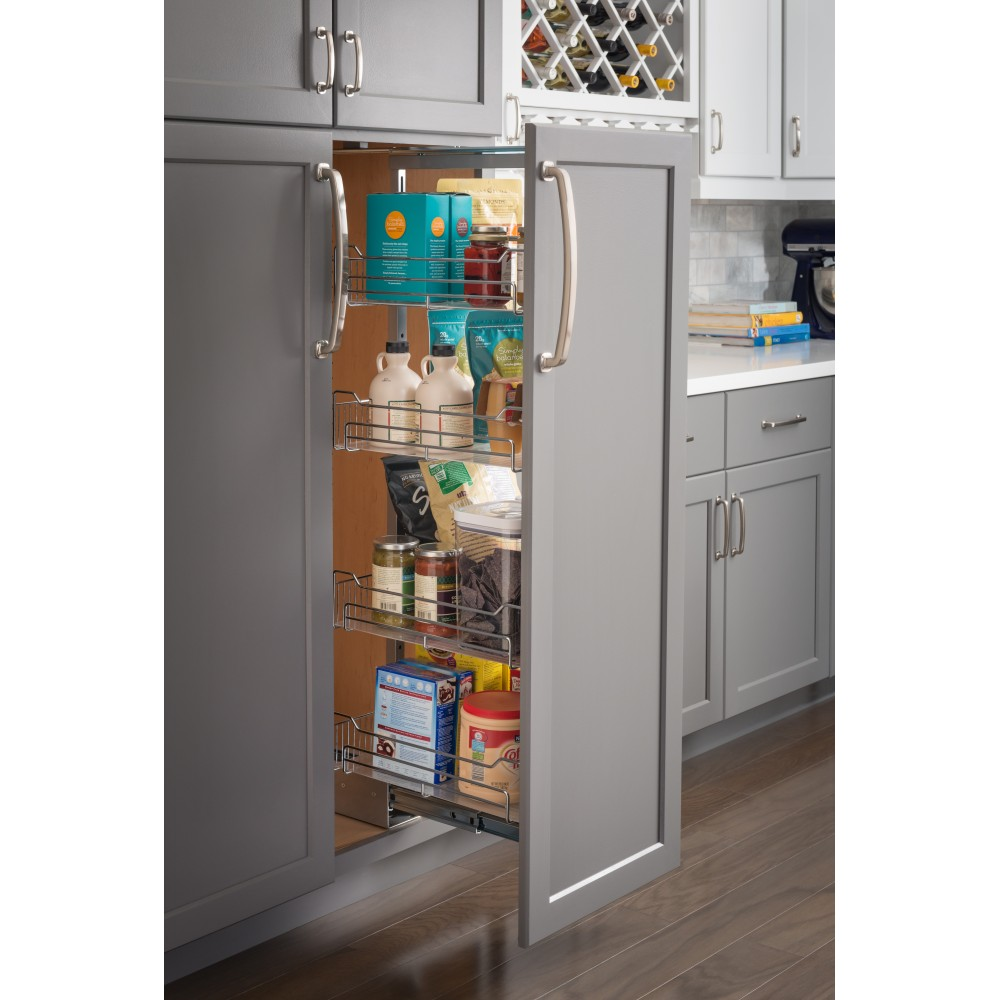 """12""""  Wide x 63"""" High Chrome Wire Pantry Pullout with Heavy Duty Soft-close"""