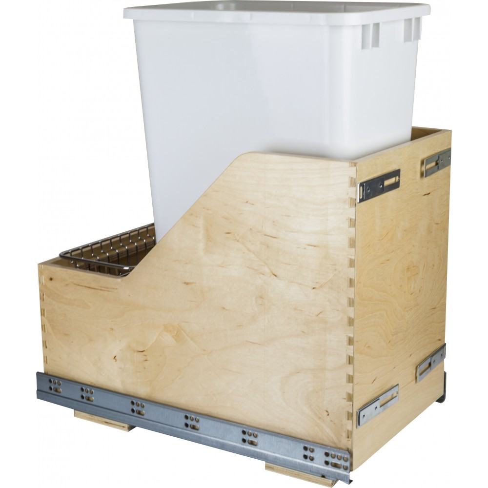 Preassembled 50 Quart Single Pullout Waste Container System