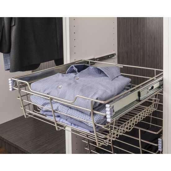 """Chrome Closet Pullout Basket 14""""D x 29""""W x 11""""H"""