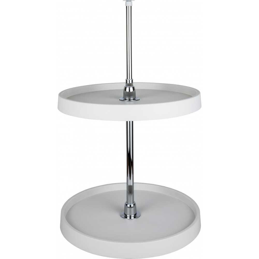 "18"" Diameter Round Plastic Lazy Susan Set with Chrome Hubs"
