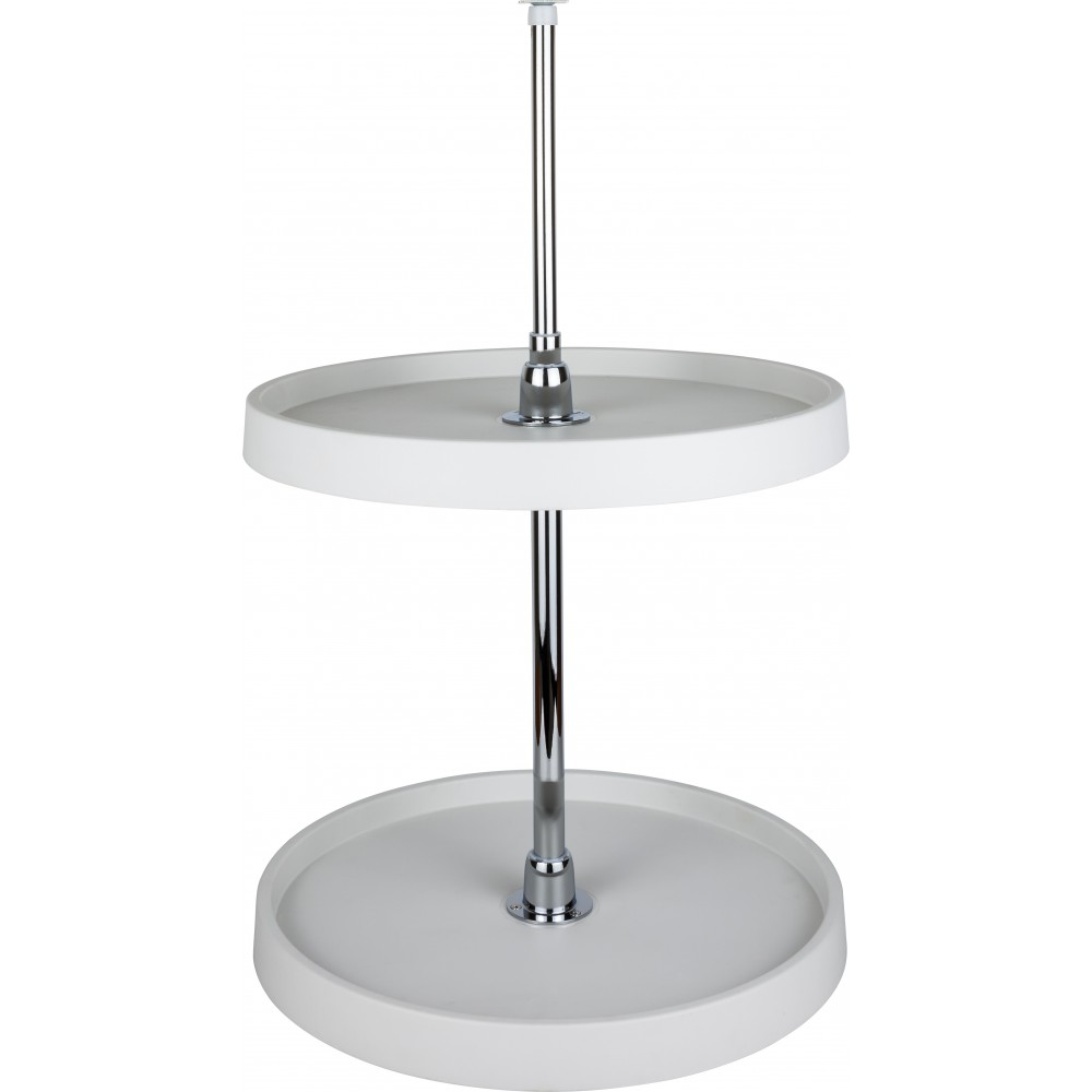 "24"" Diameter Round Plastic Lazy Susan Set with Chrome Hubs"