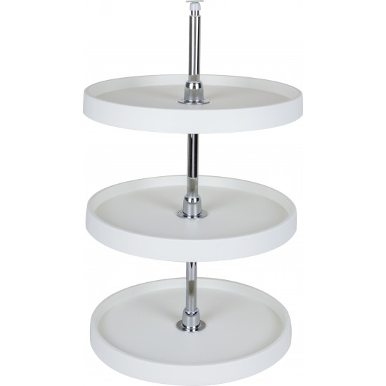 "3 Shelf 18"" Diameter Round Plastic Lazy Susan Set with Chrome Hubs"