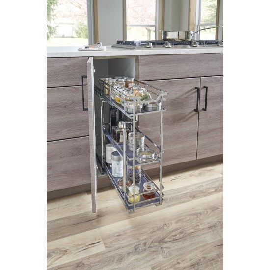 """STORAGE WITH STYLE ® 8"""" Wire Base Pullout Polished Chrome Finish"""