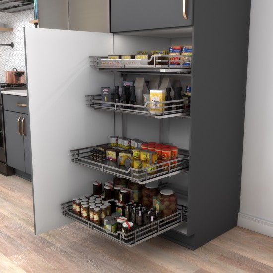 """STORAGE WITH STYLE ® Wire Pullout Basket for 27"""" Cabinet Opening.  Polished Chrome Finish"""