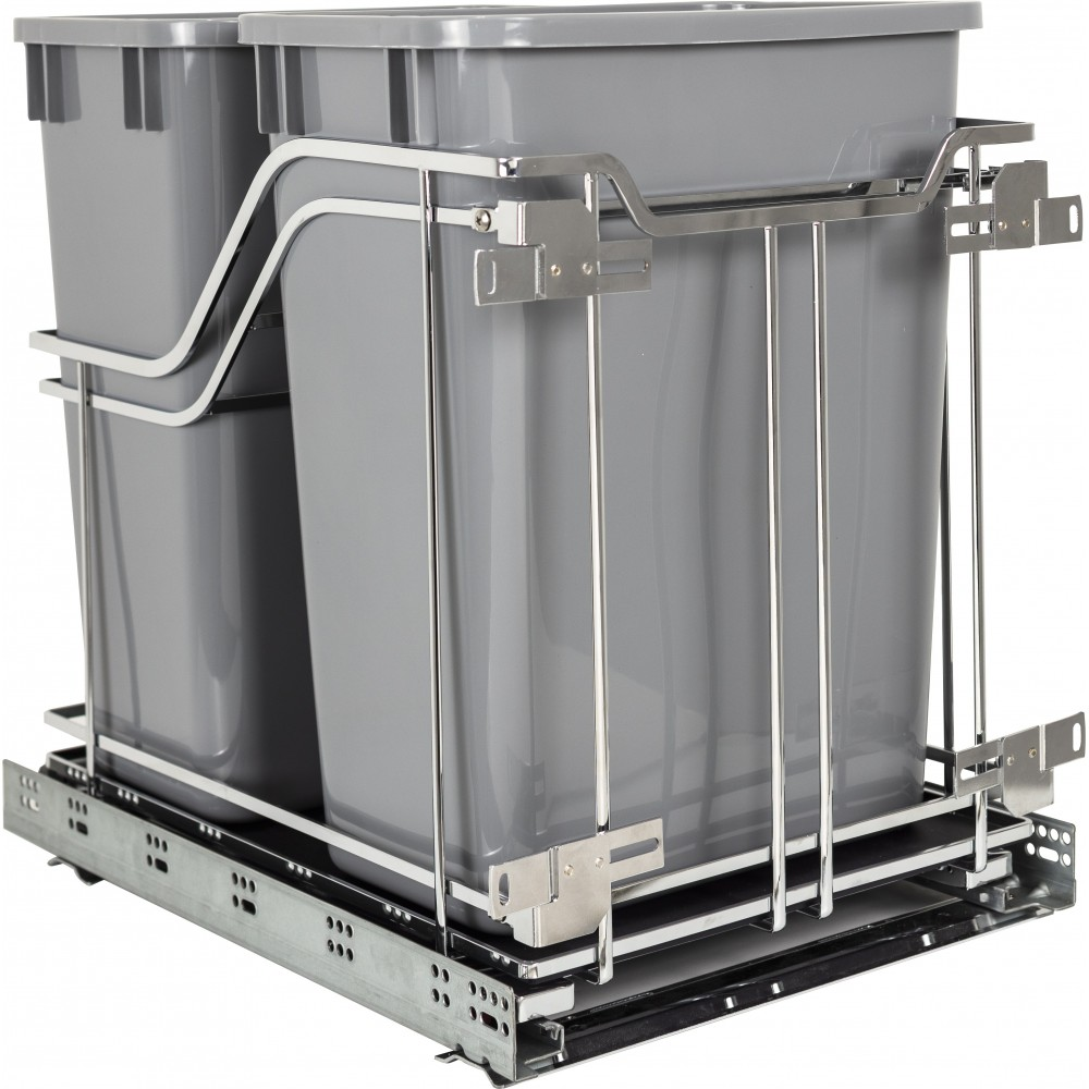 STORAGE WITH STYLE ® Polished Chrome Trashcan Pullout with Soft-close Slides