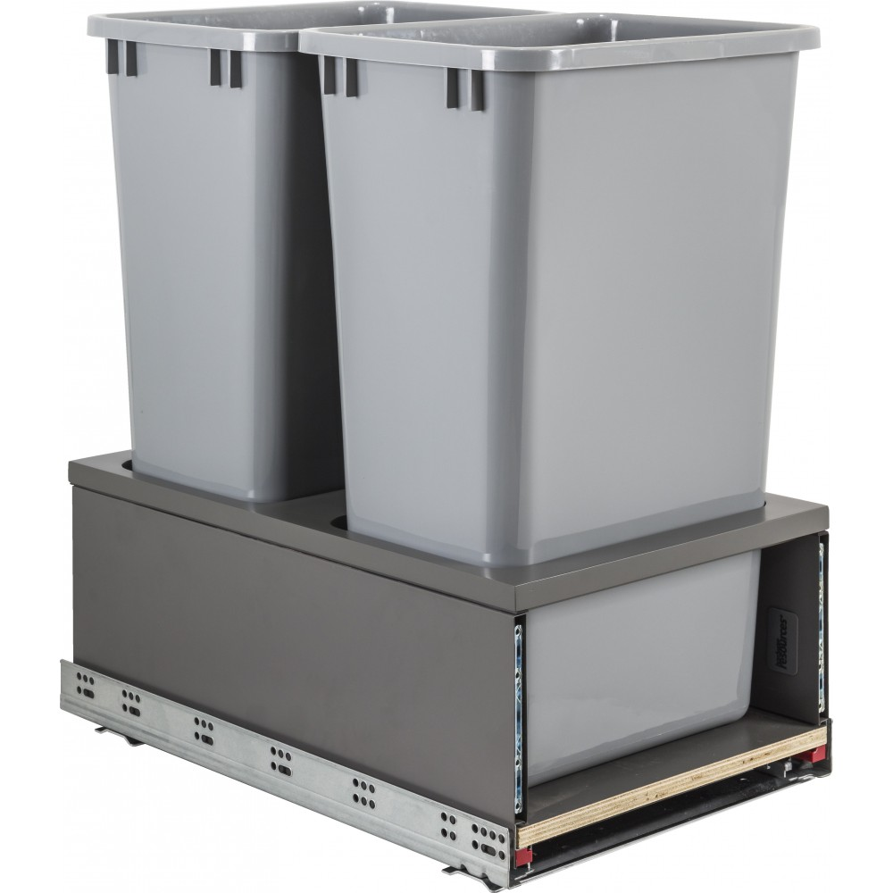 Double 50qt Metal Drawerbox Trashcan Pullout with Grey Bins