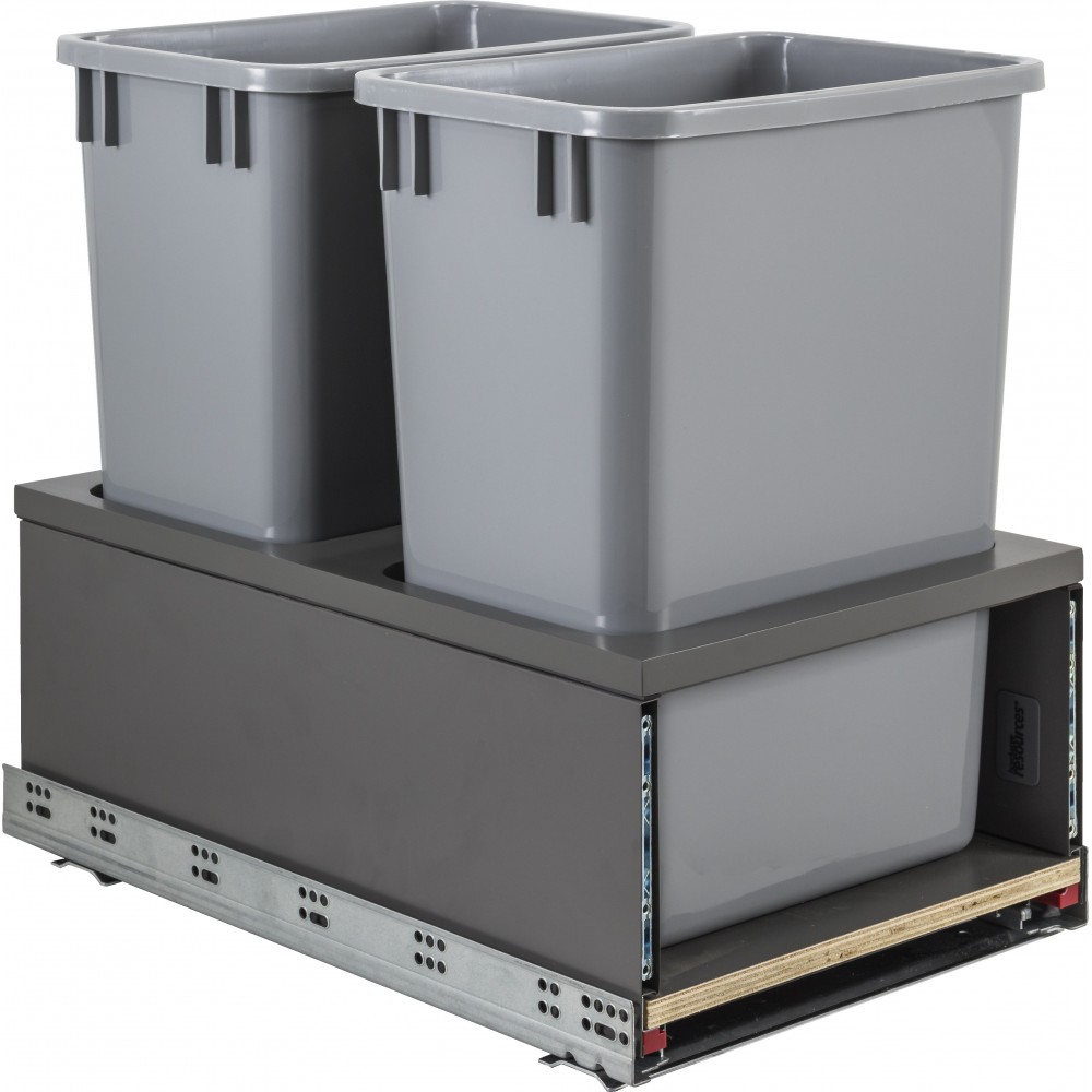 Double 35qt Metal Drawerbox Trashcan Pullout with Grey Bins