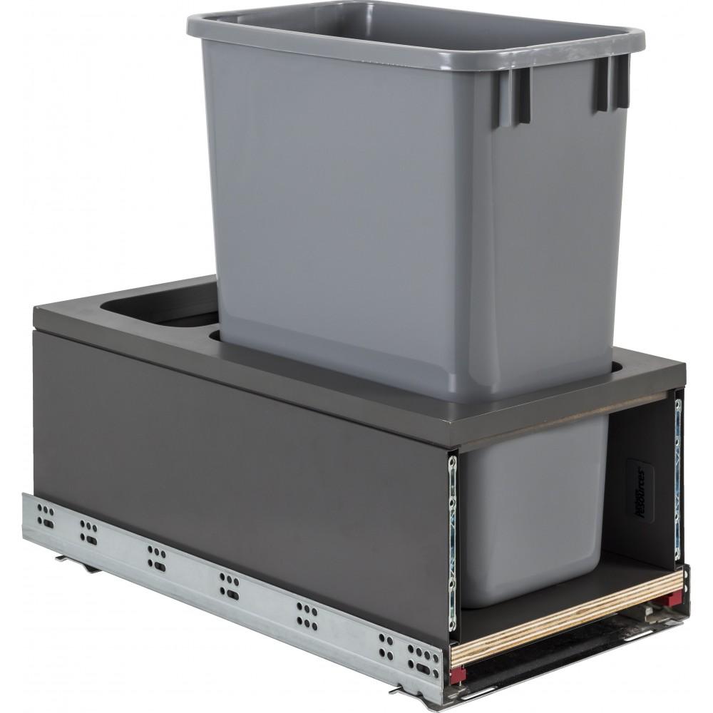 Single 35qt Metal Drawerbox Trashcan Pullout with Grey Bin