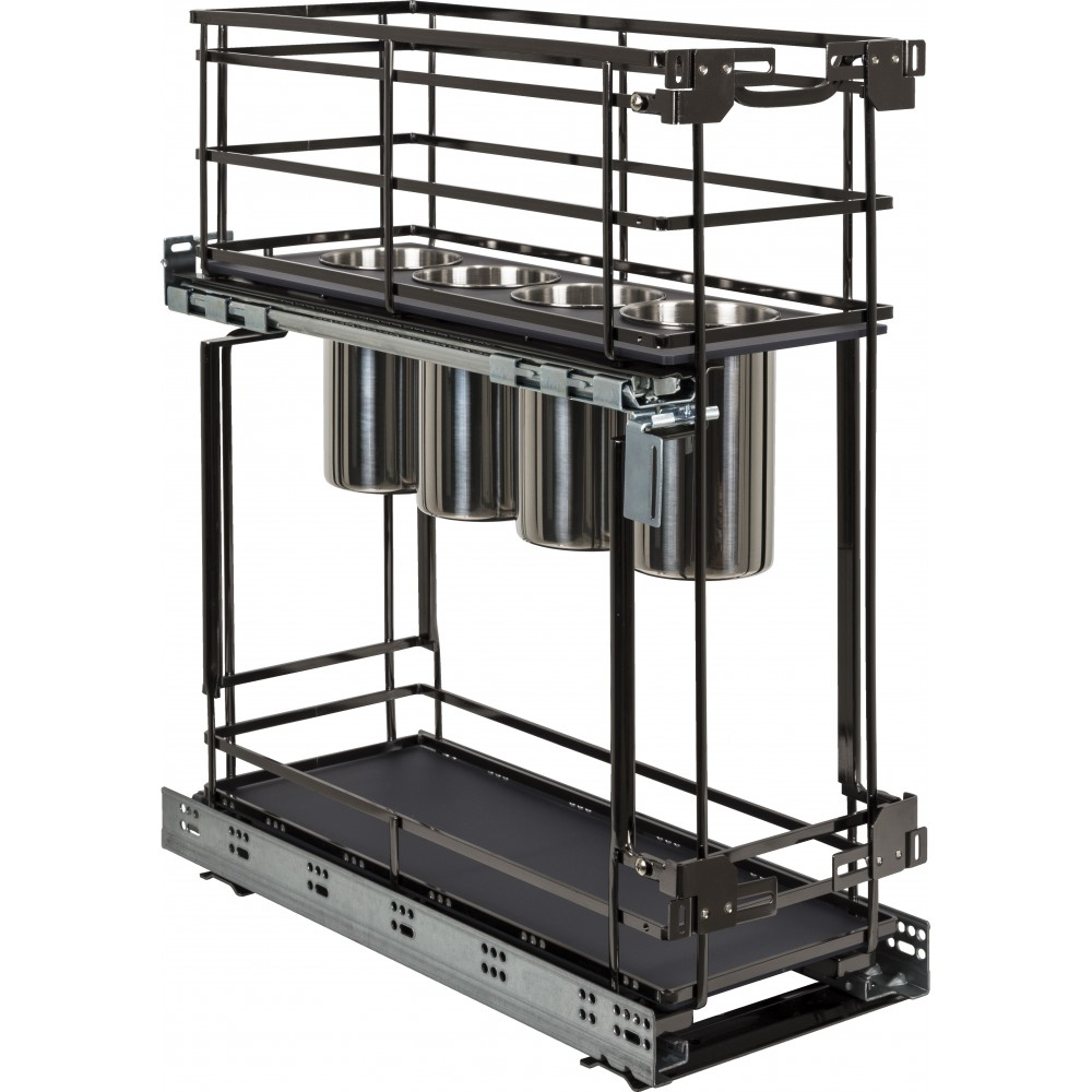 """STORAGE WITH STYLE ® 8"""" """"No Wiggle"""" Utensil Bin Base Cabinet Pullout Built on Premium Soft-close Slides. Black Nickel Finish"""