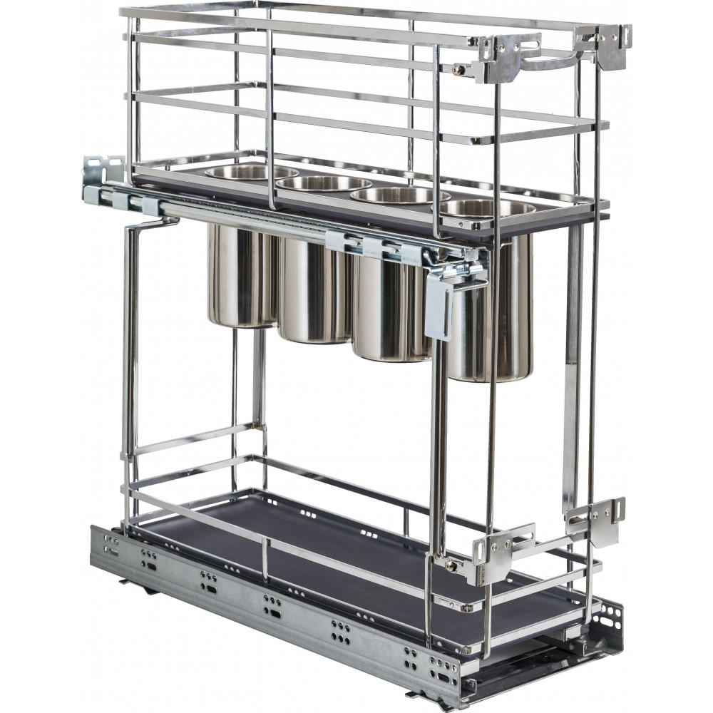 """STORAGE WITH STYLE ® 8"""" """"No Wiggle"""" Utensil Bin Base Cabinet Pullout Built on Premium Soft-close Slides. Polished Chrome Fin"""