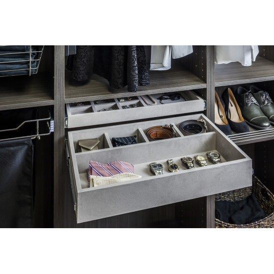 5 Compartment Grey Felt Jewelry Organizer Drawer Kit