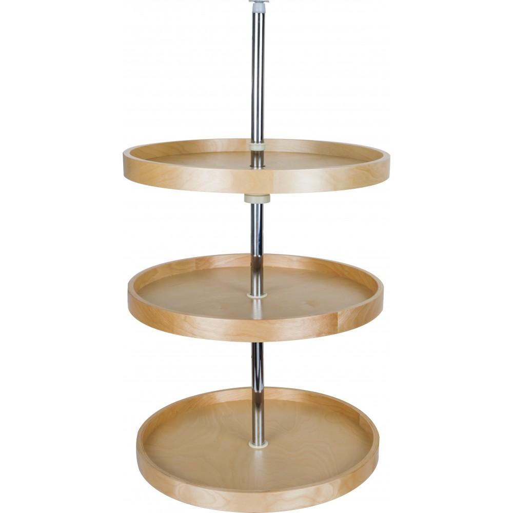 "20"" Round Banded Lazy Susan Three Shelf Set with Twist and Lock Pole"
