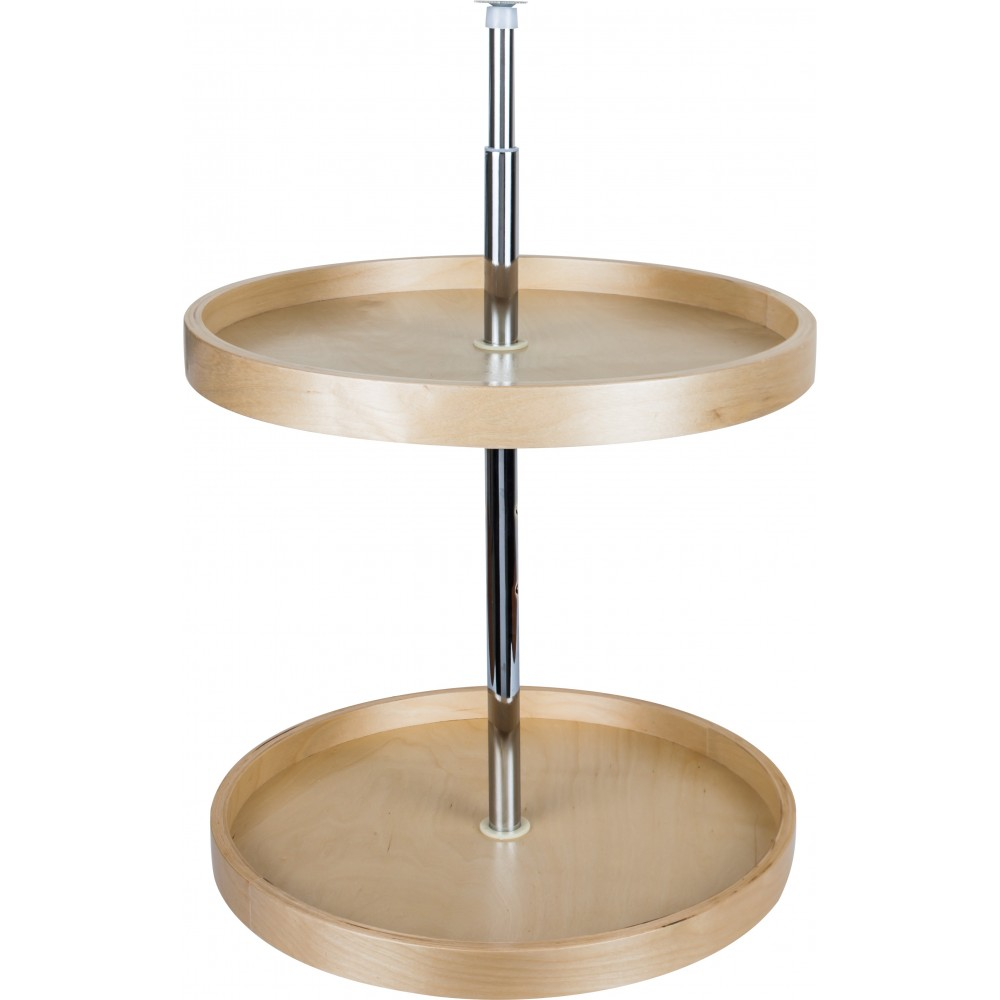 """18"""" Round Banded Lazy Susan Set with Twist and Lock Adjustable Pole"""